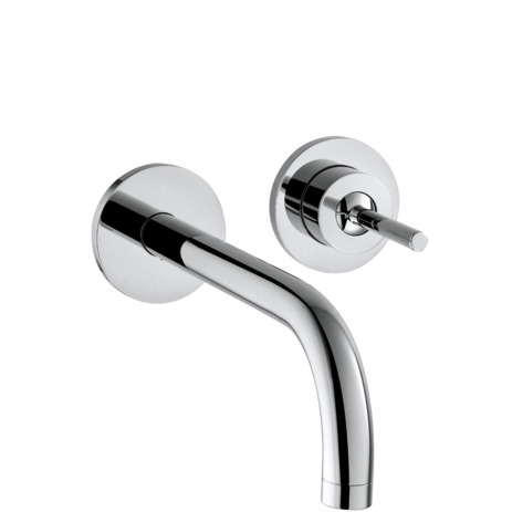 Single lever basin mixer for concealed installation with spout 225 mm and escutcheons wall-mounted