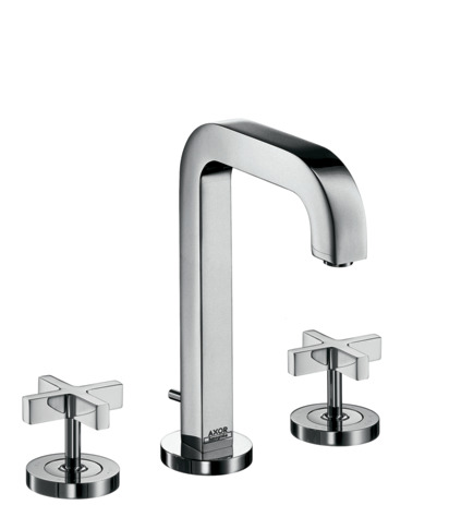 3-hole basin mixer 170 with pop-up waste set and spout 140 mm, cross handles and escutcheons