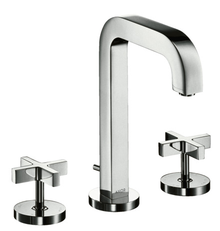 3-hole basin mixer 170 with spout 205 mm, cross handles, escutcheons and pop-up waste set