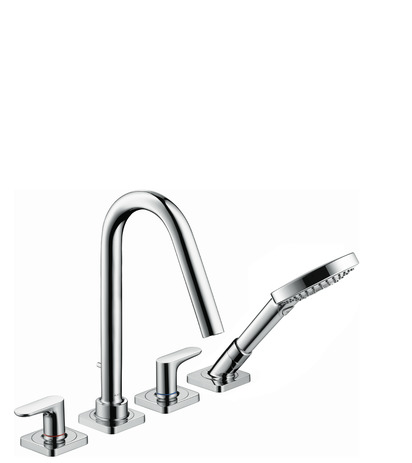 4-hole tile mounted bath mixer with lever handles and escutcheons