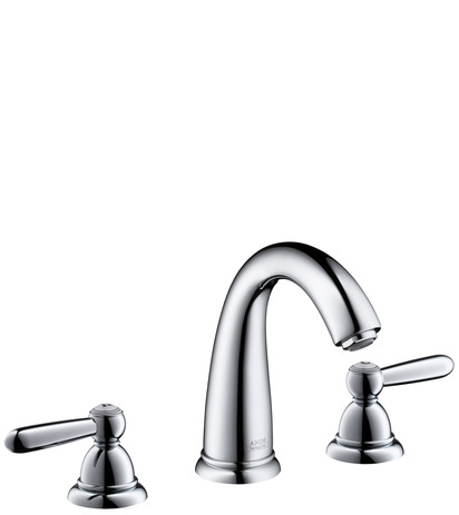 3-hole basin mixer 120 with pop-up waste set, lever handles and high spout