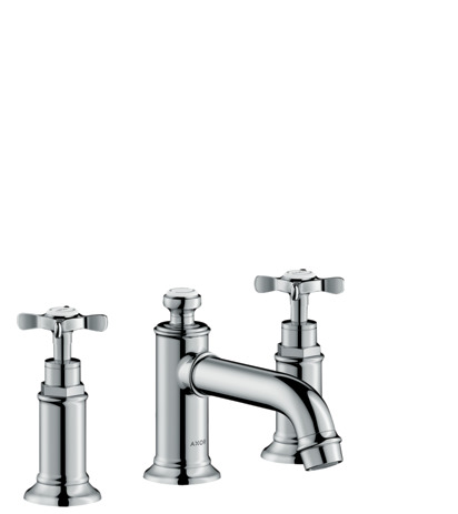 3-hole basin mixer 30 with pop-up waste and cross handles