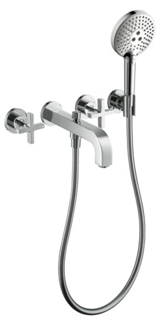 3-hole bath mixer for concealed installation with cross handles and escutcheons wall-mounted