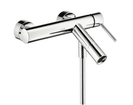 Single lever bath mixer for exposed installation with pin handle