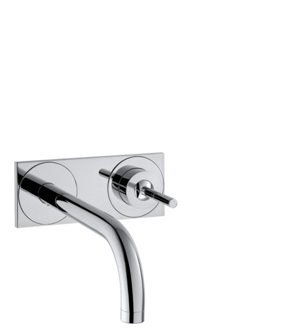 Single lever basin mixer for concealed installation with spout 165 mm and plate wall-mounted