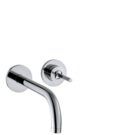 Single lever basin mixer for concealed installation with spout 165 mm and escutcheons wall-mounted