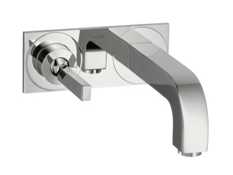 Single lever basin mixer with plate and 225 mm spout
