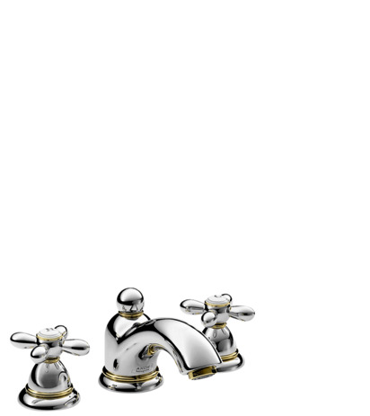 3-hole basin mixer 50 with pop-up waste set and cross handles