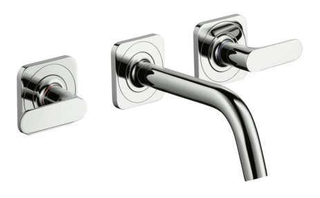 3-hole basin mixer with escutcheons and 166 mm spout, wall-mounted