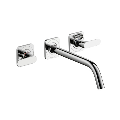 3-hole basin mixer for concealed installation with spout 226 mm, lever handles and escutcheons wall-mounted