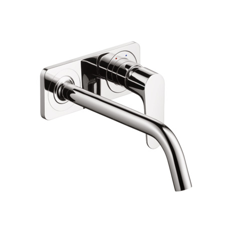 Single lever basin mixer with plate and 227 mm spout, wall-mounted