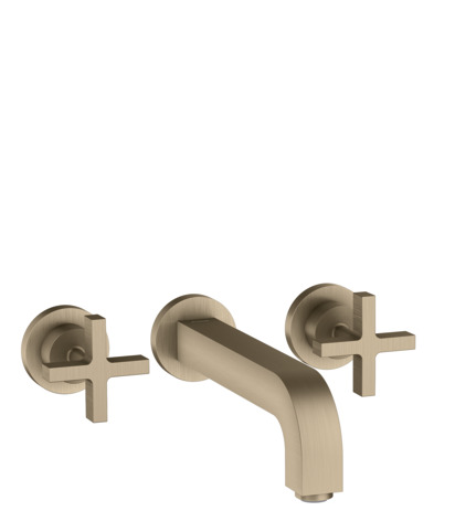 3-hole basin mixer for concealed installation with spout 222 mm, cross handles and escutcheons wall-mounted
