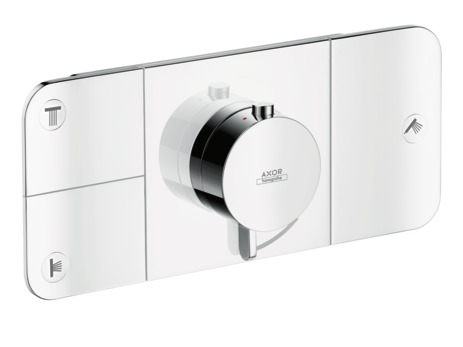 Thermostatic module for concealed installation for 3 outlets