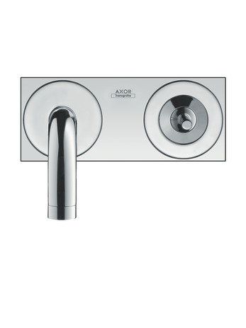 Single lever basin mixer for concealed installation with spout 225 mm and plate wall-mounted