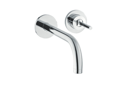 Single lever basin mixer with escutcheons and 225 mm spout