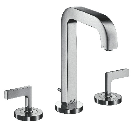 3-hole basin mixer 170 with pop-up waste, lever handles, escutcheons and 140 mm spout