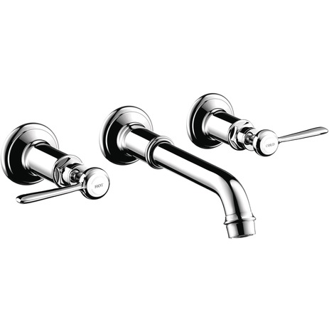 Axor Montreux Wall-Mounted Widespread Faucet Trim with Lever Handles, 1.2 GPM