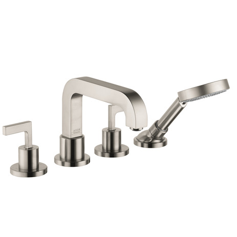 Axor Citterio 4-Hole Roman Tub Set Trim with Lever Handles with 2.0 GPM Handshower