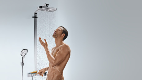 hansgrohe showerpipes raindance select 2 druhy proudu 27126000. Black Bedroom Furniture Sets. Home Design Ideas