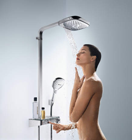 Raindance Select E 300 3jet Showerpipe termostato ducha visto ShowerTablet Select 300