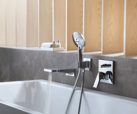 Single lever bath mixer with lever handle for concealed installation