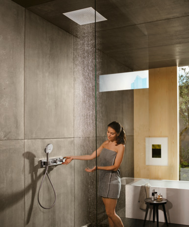 Thermostat for concealed installation for 2 functions with integrated shower holder