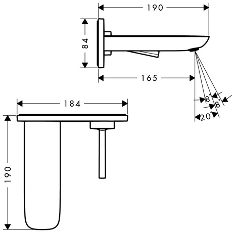 Single lever basin mixer for concealed installation with 165 mm spout