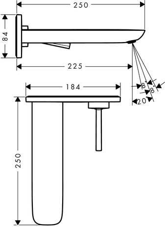 Single lever basin mixer for concealed installation with spout 225 mm wall-mounted