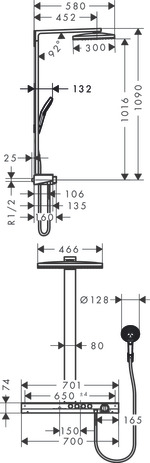 Showerpipe 460 3jet with thermostat