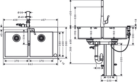 C71-F765-05 Sink combination 370/370 Select