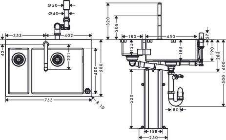 C71-F655-09 Sink combination 180/450