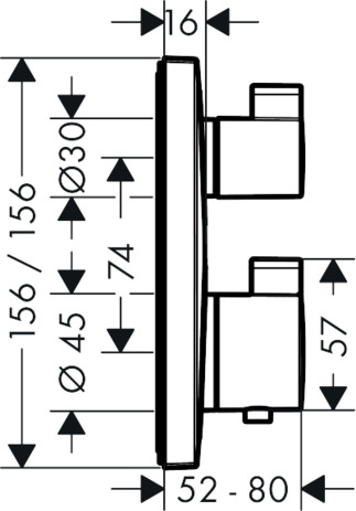 Thermostat for concealed installation for 2 functions