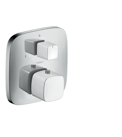 Thermostatic mixer for concealed installation for 2 outlets with shut-off and diverter valve