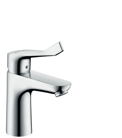 Single lever basin mixer 100 with extra long handle and pop-up waste set