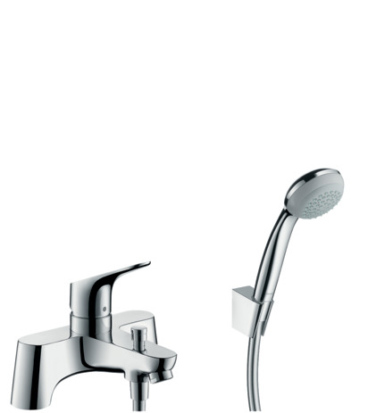 2-hole deck mounted single lever bath and shower mixer LowPressure min. 0.2 bar and Crometta 85 1jet hand shower