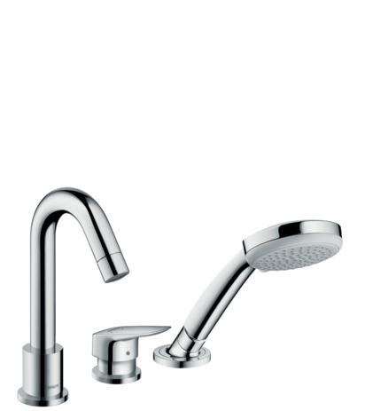 3-hole rim mounted single lever bath mixer with Secuflex