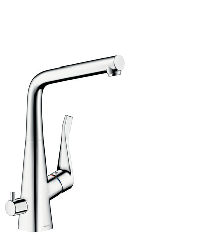 Single lever kitchen mixer 320 with shut-off valve device