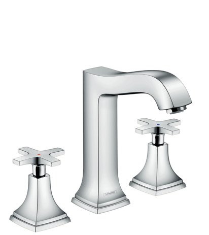 3-hole basin mixer 160 with cross handles and pop-up waste set