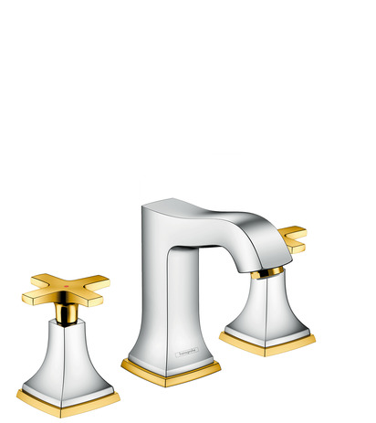 3-hole basin mixer 110 with cross handles and pop-up waste set