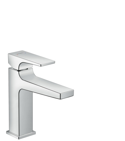 Single lever basin mixer 110 with lever handle and pop-up waste set