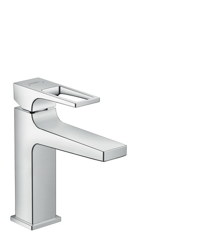 Single lever basin mixer 110 with loop handle and pop-up waste