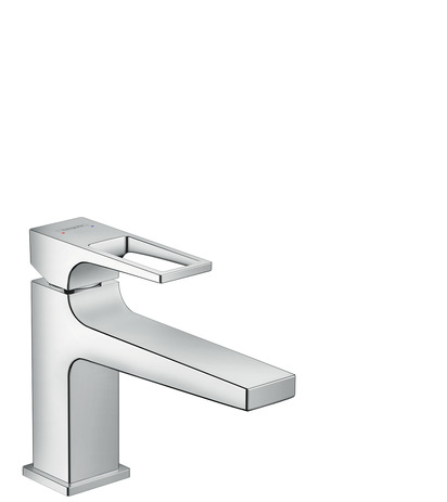 Single lever basin mixer 100 with loop handle and push open waste