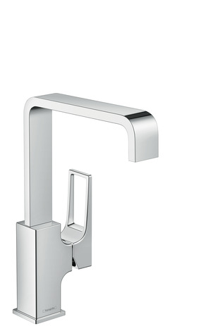 Single lever basin mixer 230 with loop handle and push-open waste