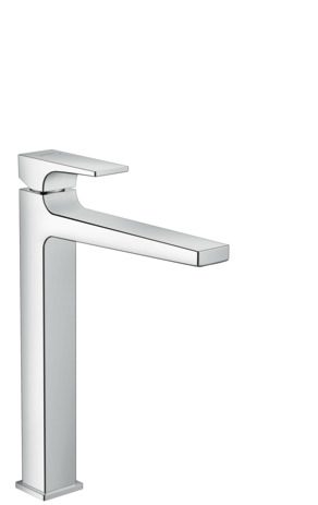 Single lever basin mixer 260 with lever handle and push open waste for washbowls
