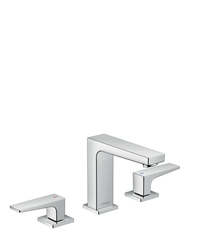 3-hole basin mixer 110 with lever handle and push open waste