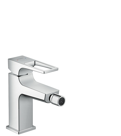 Single lever bidet mixer with loop handle and push-open waste set