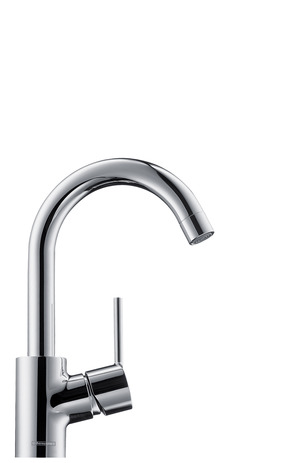 Single lever basin mixer with swivel spout and pop-up waste set