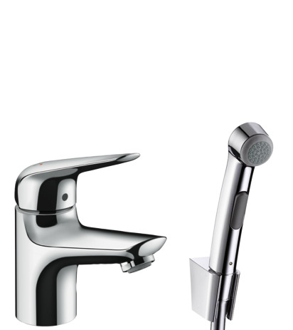 Single lever basin mixer 70 with bidette hand shower and shower hose 160 cm