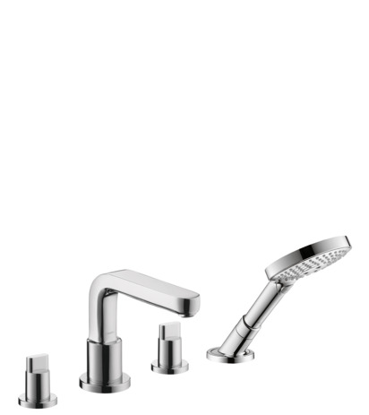 4-Hole Roman Tub Set Trim with Full Handles and 2.0 GPM Handshower