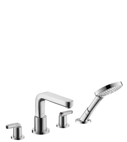 4-Hole Roman Tub Set Trim with Lever Handles and 2.0 GPM Handshower